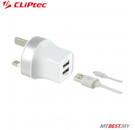 CLiPtec 2.1A Dual USB Port Charger With Cable GZU396
