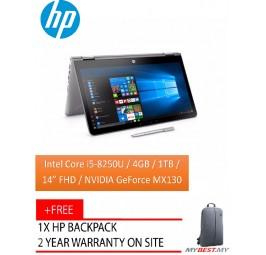 HP Pavilion X360 14-CD0036TX 14.0 FHD Touch Laptop Silver (I5-8250U, 4GB, 1TB+8GB, MX130 2GB, W10)