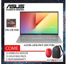 "Asus Vivobook A412D-AEK156T (Silver) 14"" FHD Laptop ( R5-3500U, 4GB, 256GB, ATI, W10 )"