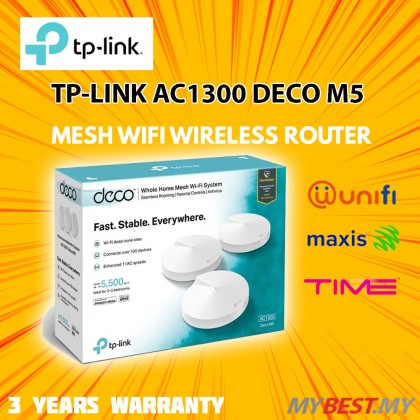 TP-LINK AC1300 Whole-Home Mesh Wi-Fi System DECO M5 - 3 PACK