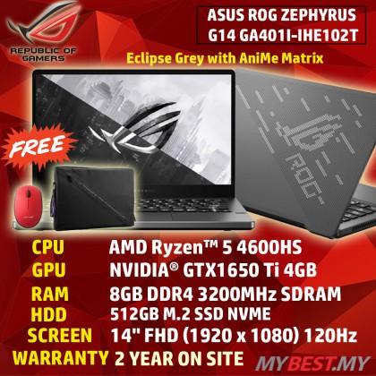 Asus Zephyrus G14 GA401I-IHE102T 14'' FHD 120Hz Gaming Laptop ( Ryzen 5-4600HS, 8GB, 512GB SSD, GTX1650Ti 4GB, W10 )