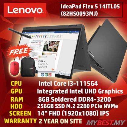 Lenovo IdeaPad Flex 5 14ITL05 82HS009EMJ 14'' FHD Touch Laptop Graphite Grey ( i3-1115G4, 8GB, 256GB SSD, Intel, W10, HS )