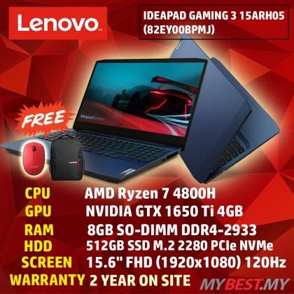 "Lenovo IdeaPad Gaming 3 15ARH05 82EY00BPMJ 15.6"" 120Hz Gaming Laptop - Chameleon Blue (AMD Ryzen 7 4800H, 8GB RAM, 512GB SSD, NVD GTX1650Ti, Win10) + Lenovo Backpack"