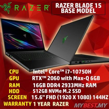 "RAZER BLADE 15 D5 GAMING NOTEBOOK-RZ09-03286E22-R3Y1-(I7-10750H/16GB D4(8GB*2)/512GB SSD(EXTRA 1 M.2 SLOT)/15.6"" FHD 144HZ 100%SRGB/NV RTX2060 6GD6/WIN10HOME/1YEAR WARRANTY/NO BACKPACK)"