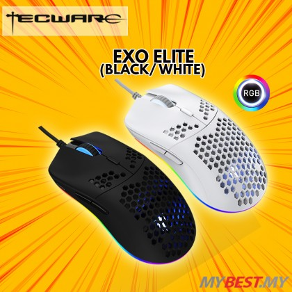 TECWARE EXO ELITE BLACK HONEYCOMB DESIGN LIGHT WEIGHT GAMING MOUSE #