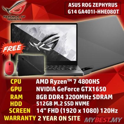 "Asus ROG Zephyrus G14 GA401I-HHE080T GAMING LAPTOP RYZEN 7 4800HS 8GB DDR4 512GB SSD GTX1650 4GB 14""FHD IPS (120Hz) GREY 2 YEARS WARRANTY"