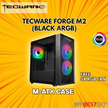 Tecware Forge M2 TG ARGB MATX (Black) Gaming Case [Airflow Optimized]
