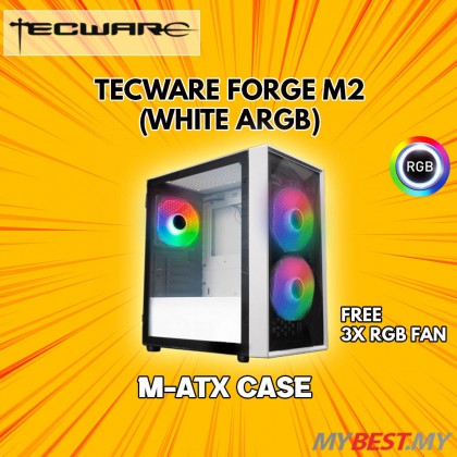 TECWARE FORGE M2 TG ARGB MATX (WHITE) GAMING CASE [AIRFLOW OPTIMIZED]