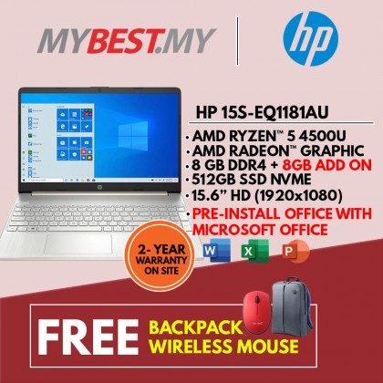 "HP 15S-EQ1181AU (GOLD) LAPTOP (RYZEN 5 4500U,8GB,512GB SSD,15.6"" FHD,VEGA GRAPHICS,WIN10) FREE BACKPACK + PRE-INSTALLED OFFICE H&S 2019"