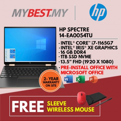 "HP SPECTRE X360 14-EA0054TU LAPTOP (I7-1165G7,16GB,1TB SSD,13.5"" FHD,IRIS XE GRAPHIC,WIN10 ) SLEEVE + PRE-INSTALLED OFFICE H&S 2019"
