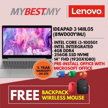 LENOVO IDEAPAD 3 14IIL05 81WD00Y1MJ 14.0'' LAPTOP GRAY (I3-1005G1/4GB/256GB SSD/W10)