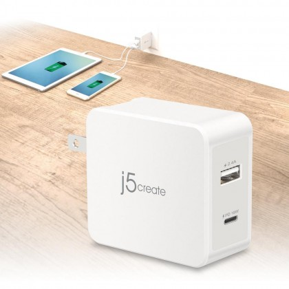 J5 CREATE 30W 2-PORT USB-C MOBILE CHARGER/POWER DELIVERY/QUICK CHARGE (JUP2230F)